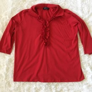Jones New York collared, ruffle blouse